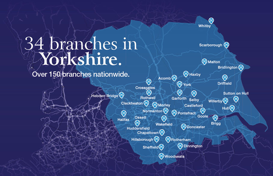 Map of Reeds Rains branches across Yorkshire