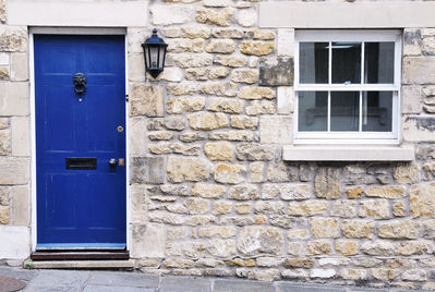 Blue door to a property