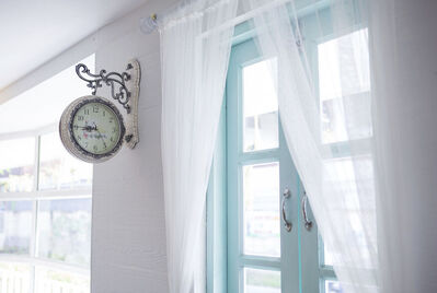 Clock on the wall in a house