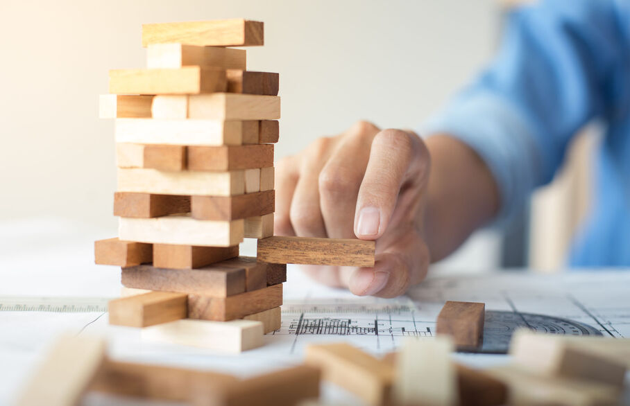 Man playing a building blocks game